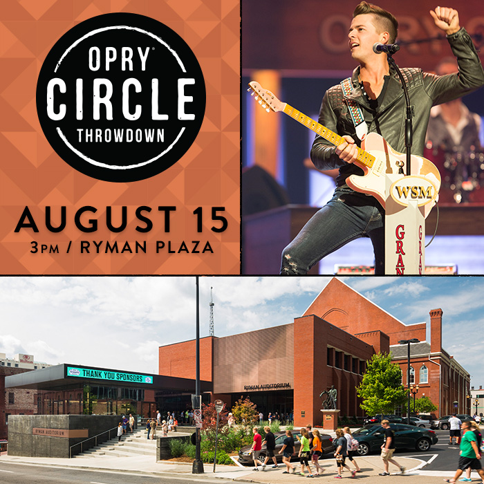 """CHASE BRYANT Performs Free Opry """"Circle Throwdown"""" Set on Downtown Nashville's RYMAN PLAZA THIS SATURDAY (8/15) at 3 pm CT"""