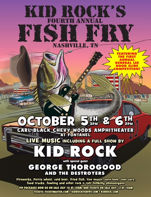 Kid rock s fourth annual fish fry announced for october 5 for Kid rock fish fry